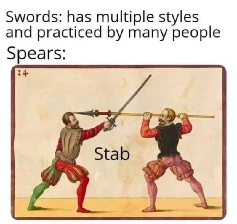 Duel - Swords: has multiple styles and practiced by many people Spears: 24 Stab