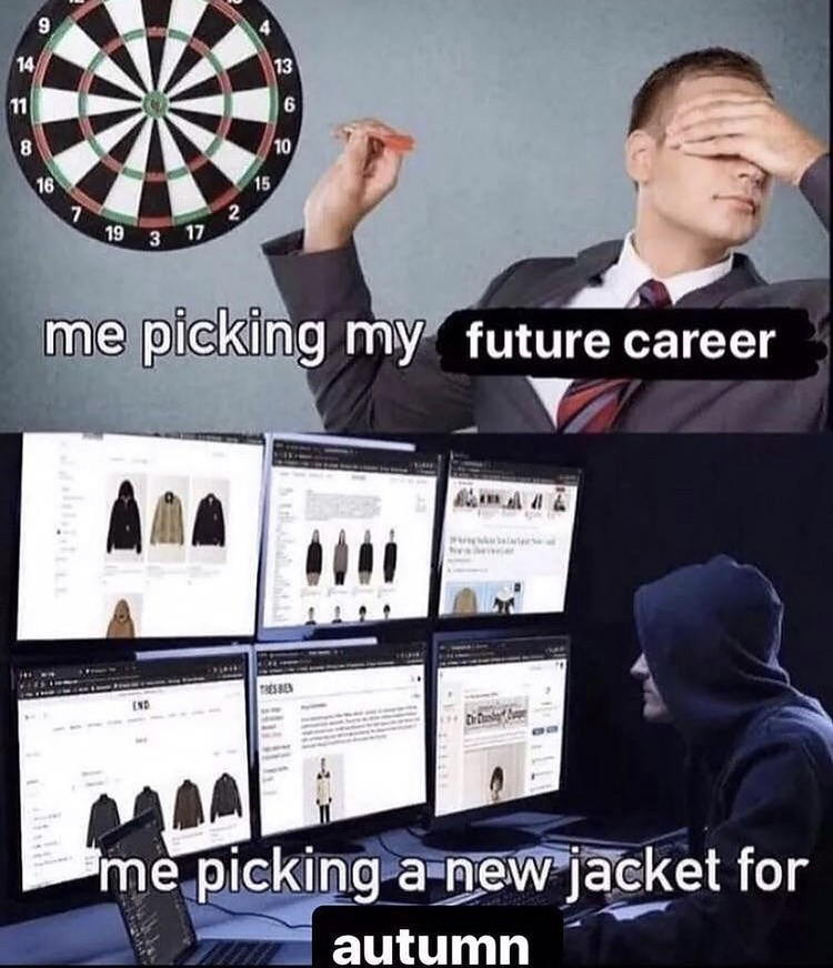 Product - 9, 14 13 11 10 16 15 19 3 17 me picking my future career END Drui me picking a new jacket for autumn stilud