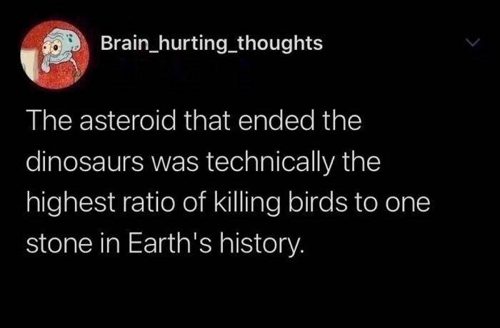 Font - Brain_hurting_thoughts The asteroid that ended the dinosaurs was technically the highest ratio of killing birds to one stone in Earth's history.