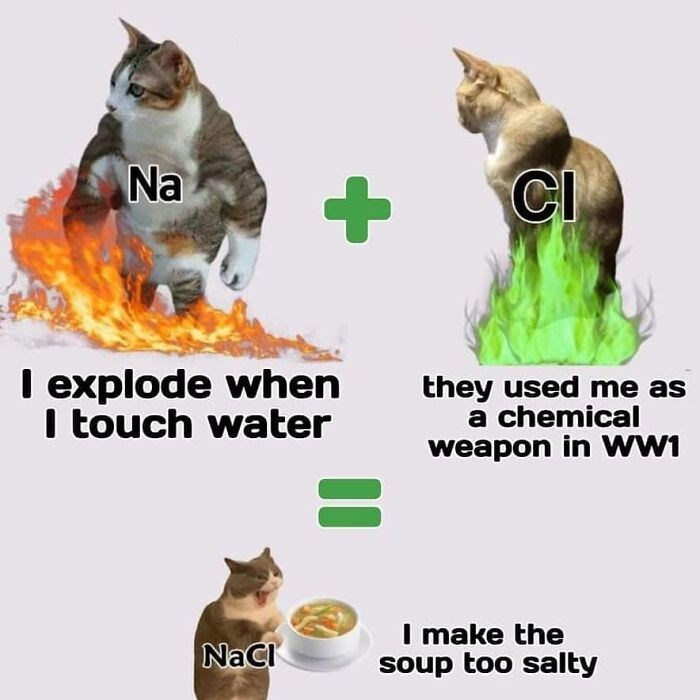 Cat - Na CI I explode when I touch water they used me as a chemical weapon in ww1 NaCI I make the soup too salty