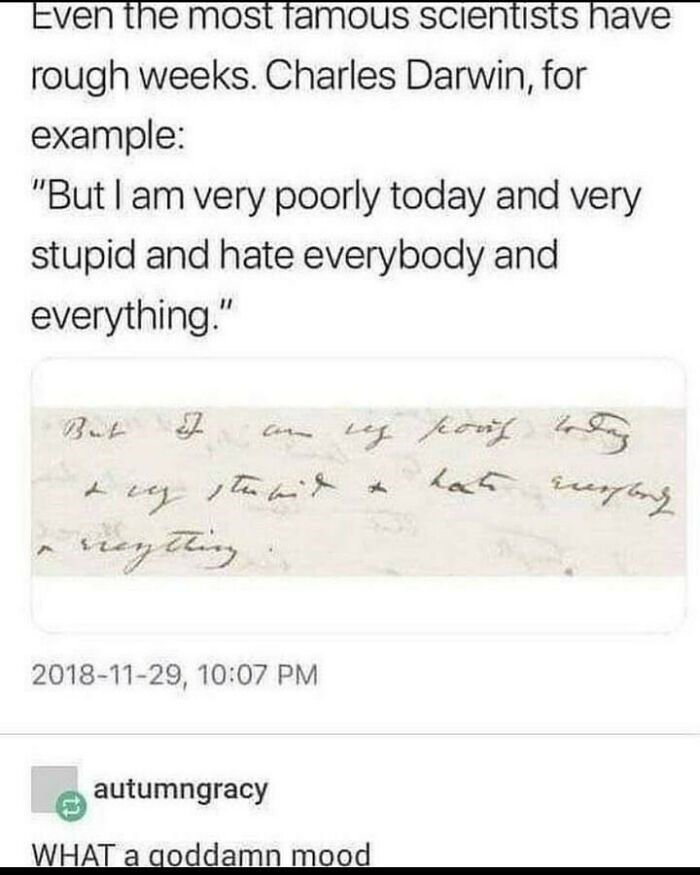 """Font - Even the most famous scientists have rough weeks. Charles Darwin, for example: """"But I am very poorly today and very stupid and hate everybody and everything."""" Co Leg poy ンなんと But reytting 2018-11-29, 10:07 PM autumngracy WHAT a goddamn mood"""