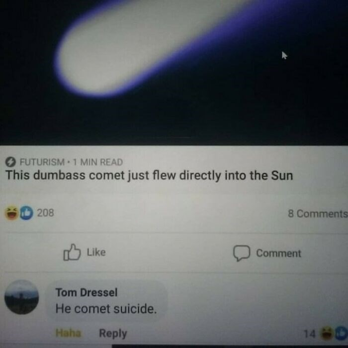 Font - FUTURISM 1 MIN READ This dumbass comet just flew directly into the Sun 208 8 Comments 75 Like Comment Tom Dressel He comet suicide. Haha Reply 14 0