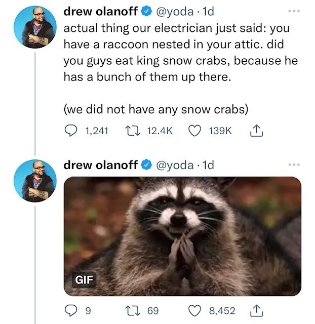Organism - drew olanoff O @yoda · 1d actual thing our electrician just said: you have a raccoon nested in your attic. did you guys eat king snow crabs, because he has a bunch of them up there. (we did not have any snow crabs) 1,241 27 12.4K 139K drew olanoff O @yoda · 1d GIF 27 69 8,452 1,