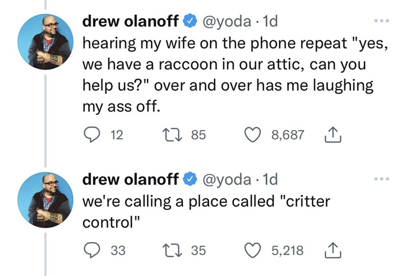 """Font - drew olanoff O @yoda · 1d ... hearing my wife on the phone repeat """"yes, we have a raccoon in our attic, can you help us?"""" over and over has me laughing my ass off. 12 27 85 8,687 1 drew olanoff O @yoda · 1d ... we're calling a place called """"critter control"""" 33 27 35 5,218"""