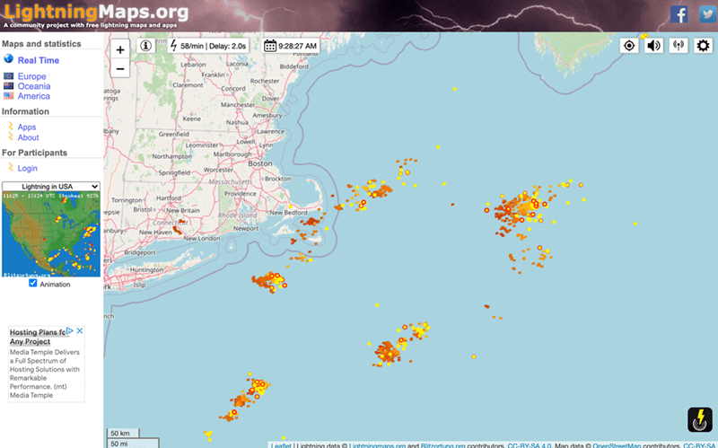 """Ecoregion - LightningMaps.org A community project with free lightning maps and apps erm Maps and statistics + 1 """" 4 58/min 