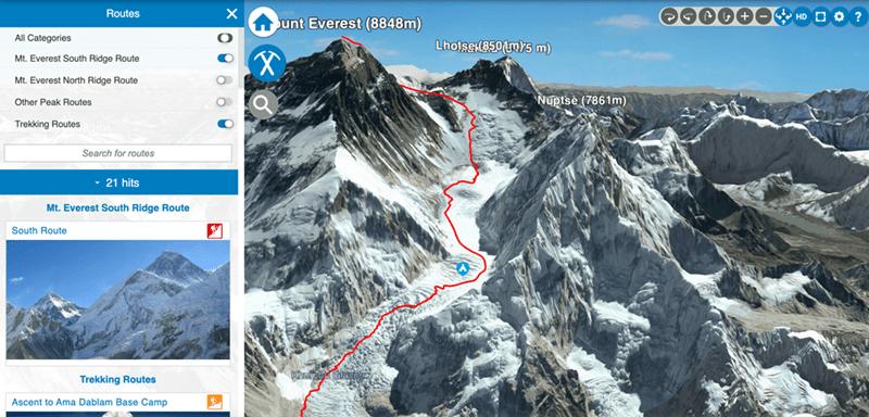 Mountain - Routes HD D O ? unt Everest (8848m) All Categories Lhotse(850(m)5 m) Mt. Everest South Ridge Route Mt. Everest North Ridge Route Other Peak Routes Nuptsė (7861m) Trekking Routes Search for routes - 21 hits Mt. Everest South Ridge Route South Route Trekking Routes Ascent to Ama Dablam Base Camp
