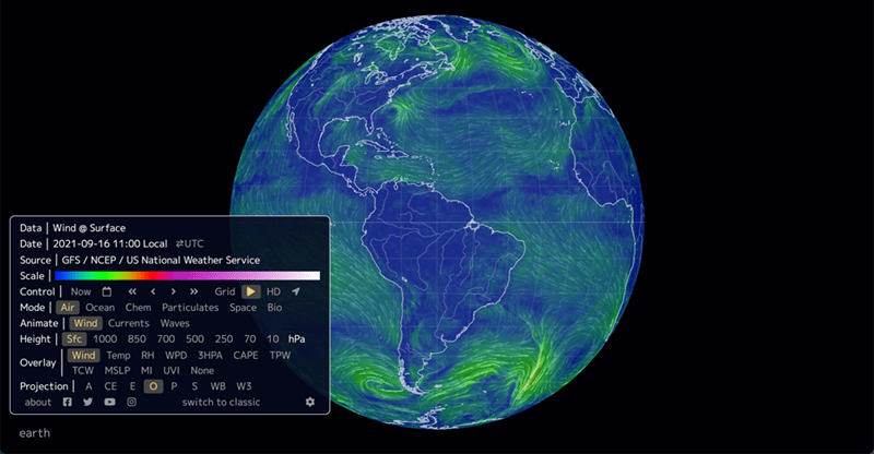 World - Data | Wind @ Surface Date | 2021-09-16 11:00 Local 2UTC Source | GFS / NCEP / US National Weather Service Scale | Control | Now O « < > » Grid > HD 1 Mode | Air Ocean Chem Particulates Space Bio Animate | Wind Currents Waves Height | Sfc 1000 850 700 500 25070 10 hPa Wind TempRH WPD 3HPA САPE ТРW Overlay TCW MSLP MI UVI None O P Projection | A СЕ S WB W3 about a switch to classic earth