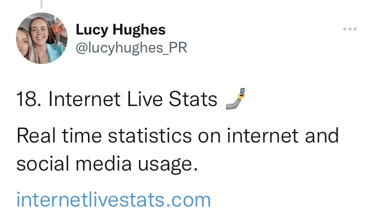 Rectangle - Lucy Hughes @lucyhughes_PR ... 18. Internet Live Stats Real time statistics on internet and social media usage. internetlivestats.com