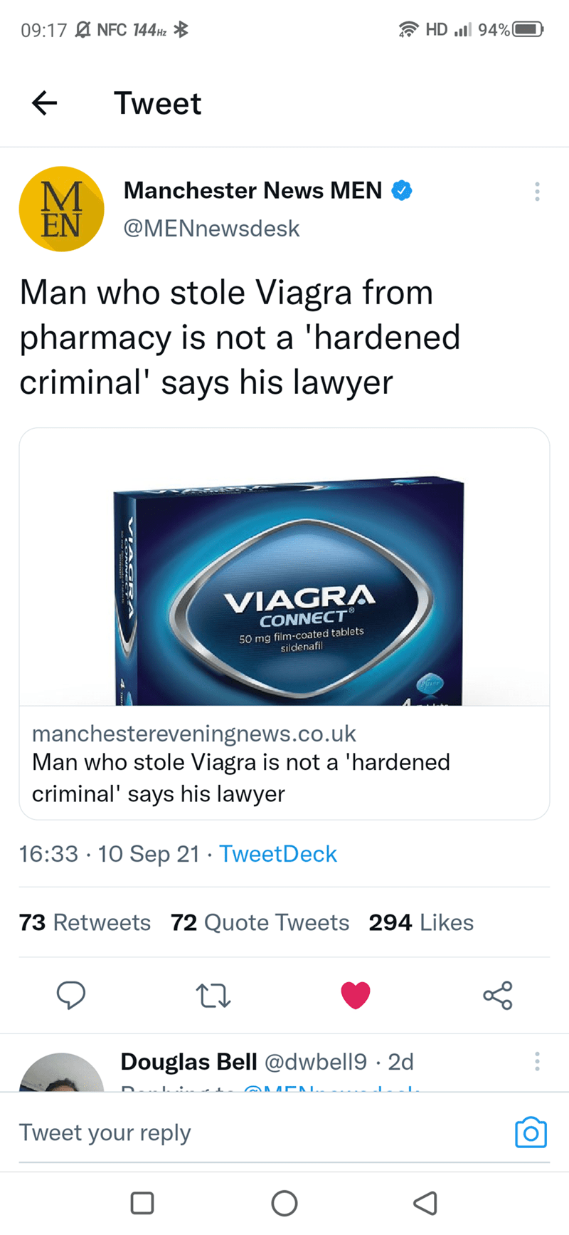 Product - 09:17 Ø NFC 144H2 * HD l 94%0 Tweet Manchester News MEN O M EN @MENnewsdesk Man who stole Viagra from pharmacy is not a 'hardened criminal' says his lawyer VIAGRA CONNECT® 50 mg film-coated tablets sildenafil manchestereveningnews.co.uk Man who stole Viagra is not a 'hardened criminal' says his lawyer 16:33 · 10 Sep 21 · TweetDeck 73 Retweets 72 Quote Tweets 294 Likes Douglas Bell @dwbell9 · 2d @MEA L. Tweet your reply VIAG RA