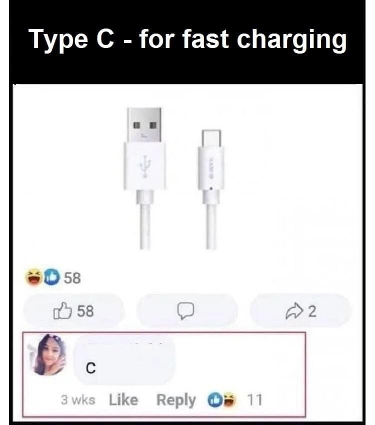 Line - Type C - for fast charging 60 58 O 58 C 3 wks Like Reply O 11