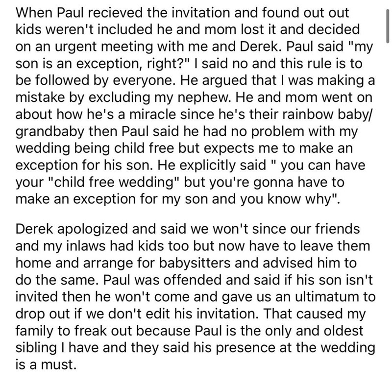 brother thinks his kid is the exception to child free wedding