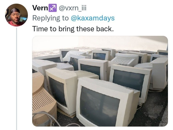 Output device - Vern @vxrn_i Replying to @kaxamdays Time to bring these back.