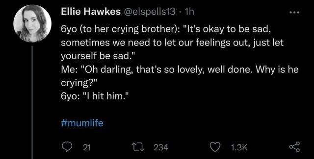 """World - Ellie Hawkes @elspells13 · 1h 6yo (to her crying brother): """"It's okay to be sad, sometimes we need to let our feelings out, just let yourself be sad."""" Me: """"Oh darling, that's so lovely, well done. Why is he crying?"""" 6yo: """"I hit him."""" #mumlife O 21 27 234 1.3K"""