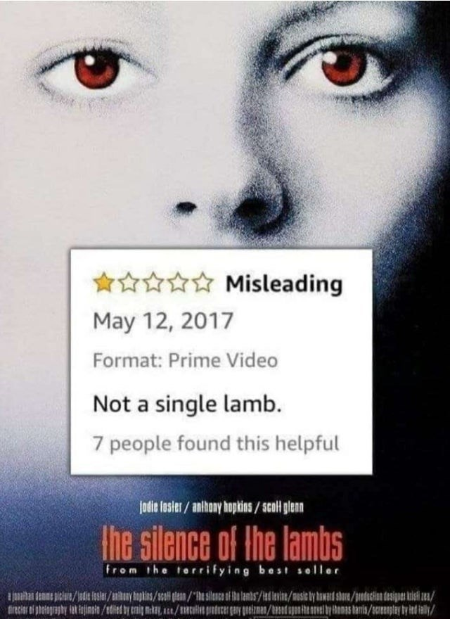 Nose - *☆☆☆ Misleading May 12, 2017 Format: Prime Video Not a single lamb. 7 people found this helpful Jodie foster/ anthony hopkins / Scol glenn Ihe silence of the lambs from the torrifying best seller tirecier oi phelopraphy lat kejinit/dited by crnig makey, Le/mtilit pretucer gery goeizmam/st apntenavel by honas tanis/senstey by led iely/