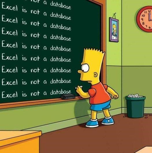 Cartoon - a database Excel is not a database II 12 10 8 Excel is not a database Excel is not a database Excel is not a database Excel is not a database Excel is not a database Excel is not a database Excel is not a database