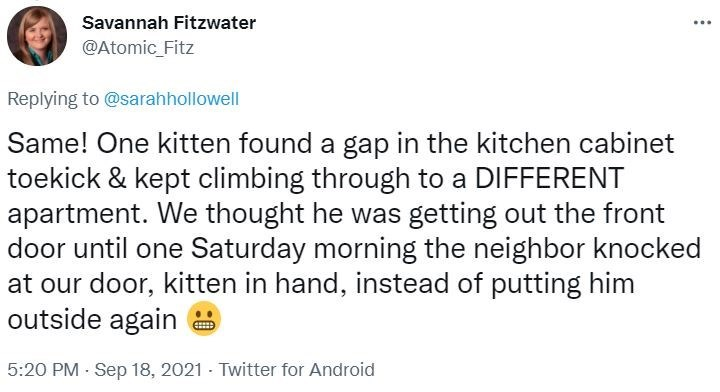 Font - Savannah Fitzwater @Atomic_Fitz Replying to @sarahhollowell Same! One kitten found a gap in the kitchen cabinet toekick & kept climbing through to a DIFFERENT apartment. We thought he was getting out the front door until one Saturday morning the neighbor knocked at our door, kitten in hand, instead of putting him outside again 5:20 PM - Sep 18, 2021 - Twitter for Android
