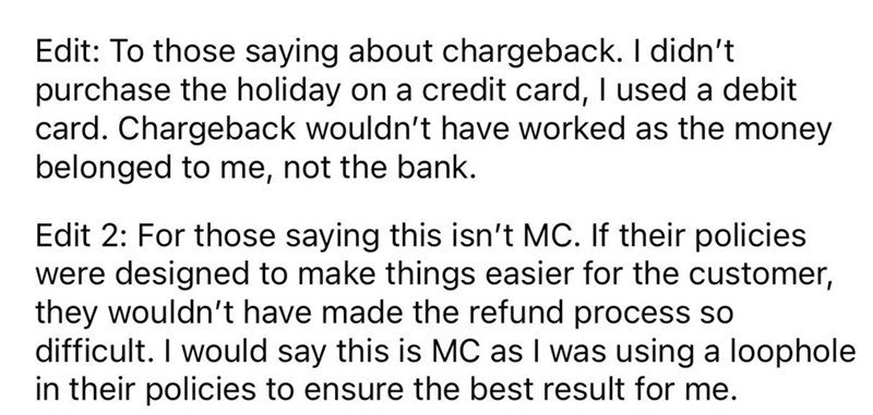 guy uses clever trick to get around holiday cancellation fees