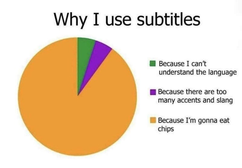 Colorfulness - Why I use subtitles Because I can't understand the language Because there are too many accents and slang Because I'm gonna eat chips