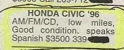 Green - HONDA CIVIC '96 AM/FM/CD, low miles, Good condition. speaks Spanish $3500 339-