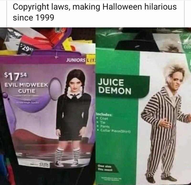 Fashion - Copyright laws, making Halloween hilarious since 1999 COS $2997 JUNIORS L(1 $1754 EVIL MIDWEEK CUTIE JUICE DEMON Includes -Coat The + Pants Coller PecelShirg One siowe lira