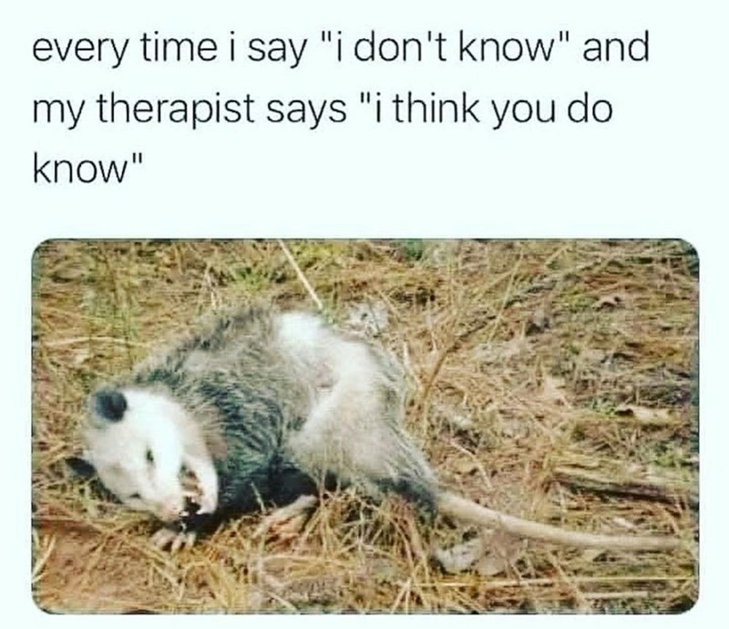 """Nature - every time i say """"i don't know"""" and my therapist says """"i think you do know"""""""