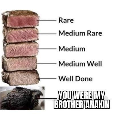 Food - Rare Medium Rare Medium Medium Well Well Done YOU WERE MY BROTHER ANAKIN