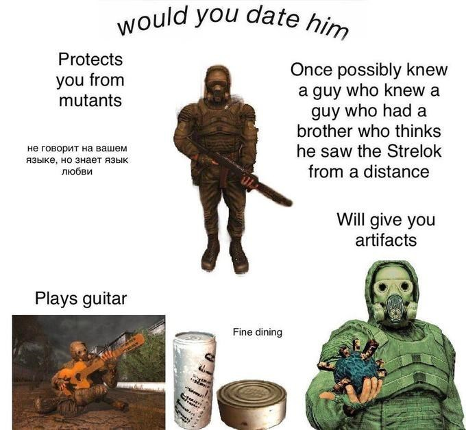 Organism - would you date him Protects Once possibly knew a guy who knew a guy who had a brother who thinks he saw the Strelok from a distance you from mutants не говорит на вашем языке, но знает язык любви Will give you artifacts Plays guitar Fine dining