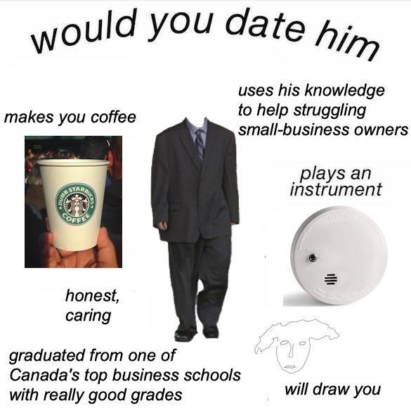 Product - would you date him uses his knowledge to help struggling small-business owners makes you coffee AB STARBI plays an instrument OFFEE honest, caring graduated from one of Canada's top business schools with really good grades will draw you DU