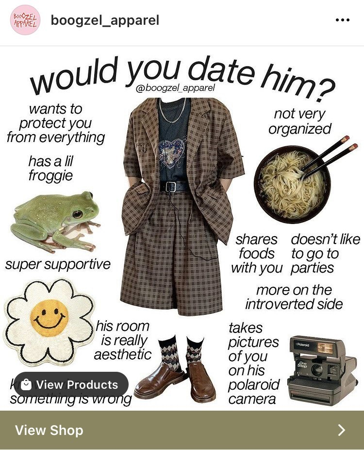 Product - would you date him? BOOZEL APPAREL boogzel_apparel @boogzel apparel wants to protect you from everything not very organized has a lil froggie shares doesn't like foods to go to with you parties super supportive more on the introverted side his room is really aesthetic takes pictures of you on his polaroid camera Polaroid Stop View Products Somening is wrong View Shop