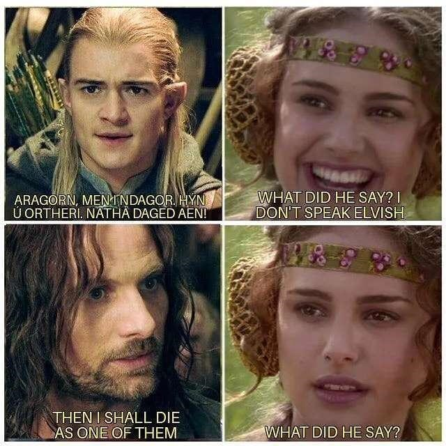 Hair - ARAGORN, MEN INDAGOR. HÝN Ú ORTHERI. NATHA DAGED AEN! WHAT DID HE SAY? I DON'T SPEAK ELVISH THEN I SHALL DIE AS ONE OF THEM WHAT DID HE SAY?