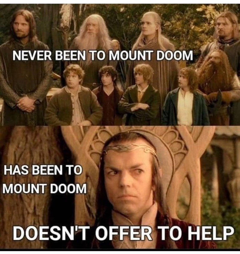 Hairstyle - NEVER BEEN TO MOUNT DOOM HAS BEEN TO MOUNT DOOM DOESN'T OFFER TO HELP