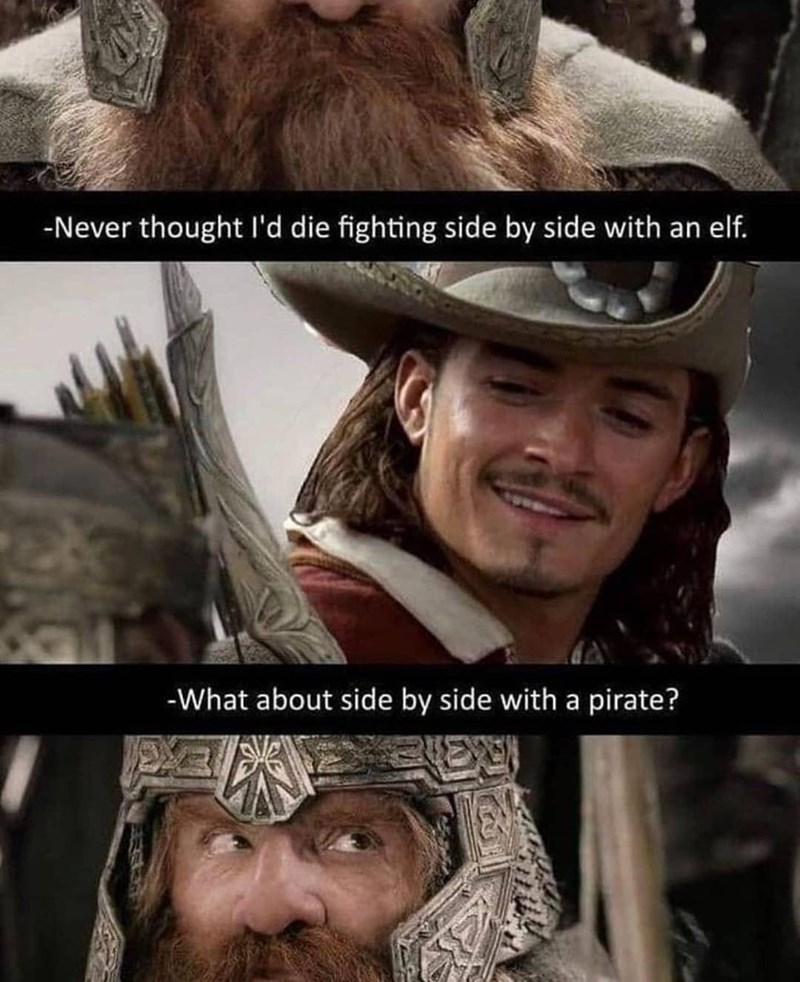Skin - -Never thought l'd die fighting side by side with an elf. -What about side by side with a pirate?