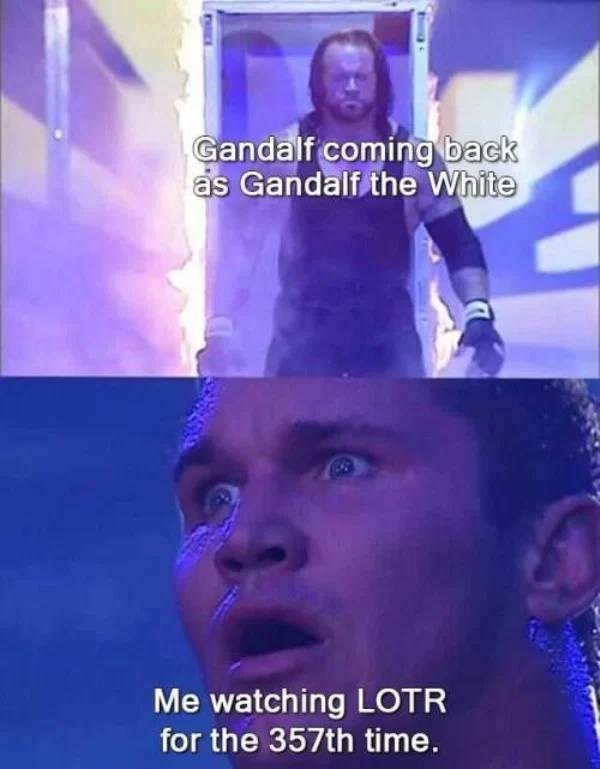 Head - Gandalf coming back as Gandalf the White Me watching LOTR for the 357th time.