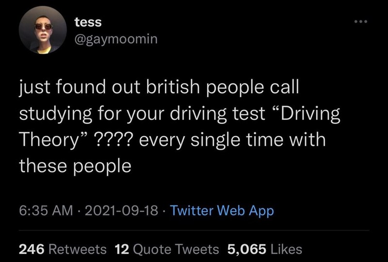 """Font - tess ... @gaymoomin just found out british people call studying for your driving test """"Driving Theory"""" ???? every single time with these people 6:35 AM · 2021-09-18 · Twitter Web App 246 Retweets 12 Quote Tweets 5,065 Likes"""