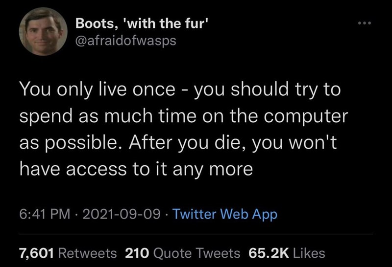 Organism - Boots, 'with the fur' @afraidofwasps You only live once - you should try to spend as much time on the computer as possible. After you die, you won't have access to it any more 6:41 PM · 2021-09-09 · Twitter Web App 7,601 Retweets 210 Quote Tweets 65.2K Likes