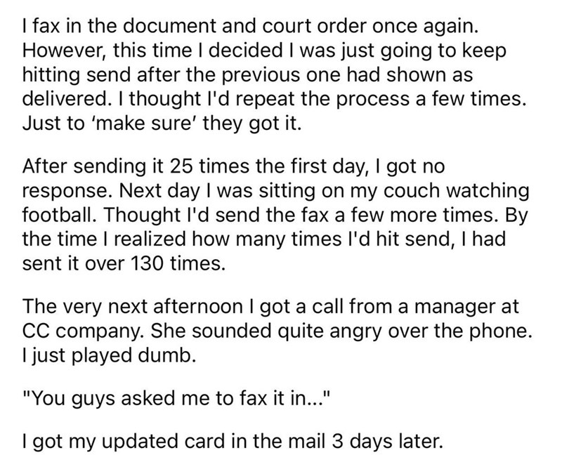 guy sends fax bomb to credit card company