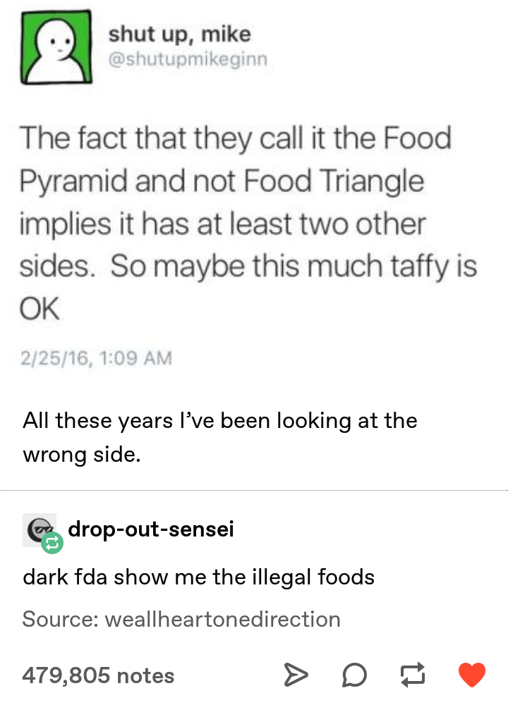 Font - shut up, mike @shutupmikeginn The fact that they call it the Food Pyramid and not Food Triangle implies it has at least two other sides. So maybe this much taffy is OK 2/25/16, 1:09 AM All these years l've been looking at the wrong side. drop-out-sensei dark fda show me the illegal foods Source: weallheartonedirection 479,805 notes
