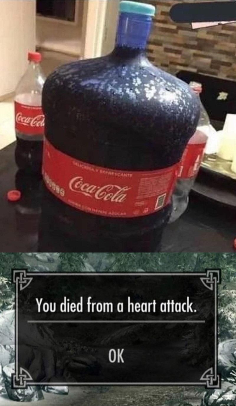 Bottle - Coca-Cola PAESCANT Coca-Cola You died from a heart attack. OK
