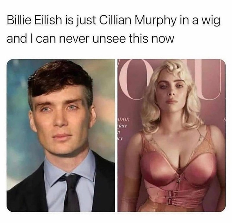 Clothing - Billie Eilish is just Cillian Murphy in a wig and I can never unsee this now IDOR face