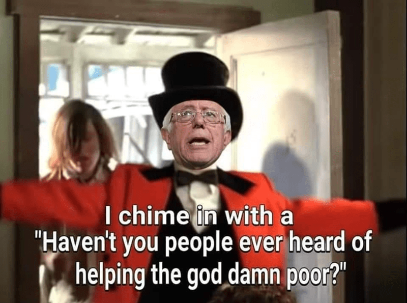 """Hat - I chime in with a """"Haven't you people ever heard of helping the god damn poor?"""""""