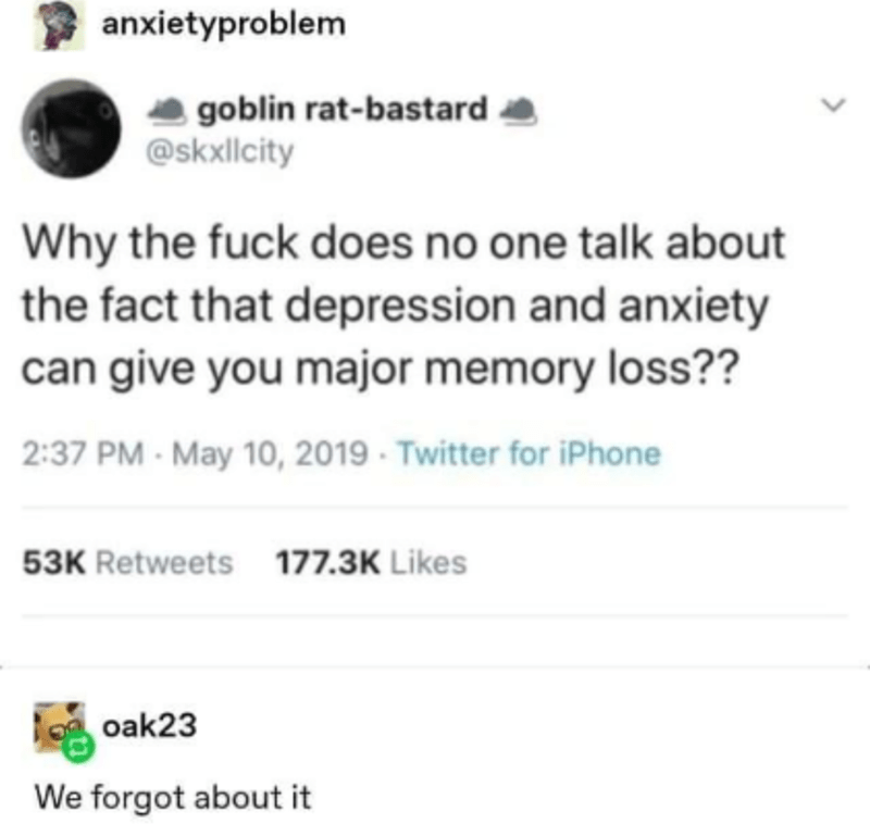 Font - anxietyproblem goblin rat-bastard @skxllcity Why the fuck does no one talk about the fact that depression and anxiety can give you major memory loss?? 2:37 PM - May 10, 2019 · Twitter for iPhone 53K Retweets 177.3K Likes oak23 We forgot about it