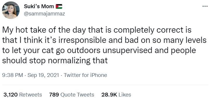Font - Suki's Mom E @sammajammaz My hot take of the day that is completely correct is that I think it's irresponsible and bad on so many levels to let your cat go outdoors unsupervised and people should stop normalizing that 9:38 PM - Sep 19, 2021 - Twitter for iPhone 3,120 Retweets 789 Quote Tweets 28.9K Likes