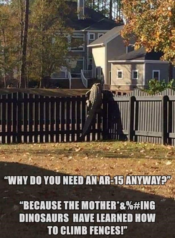 """Plant - """"WHY DO YOU NEED AN AR-15 ANYWAY?"""" """"BECAUSE THE MOTHER&%#ING DINOSAURS HAVE LEARNED HOW TO CLIMB FENCES!"""""""