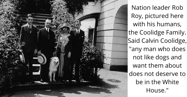 """Dog - Nation leader Rob Roy, pictured here with his humans, the Coolidge Family. Said Calvin Coolidge, """"any man who does not like dogs and want them about does not deserve to be in the White House."""""""