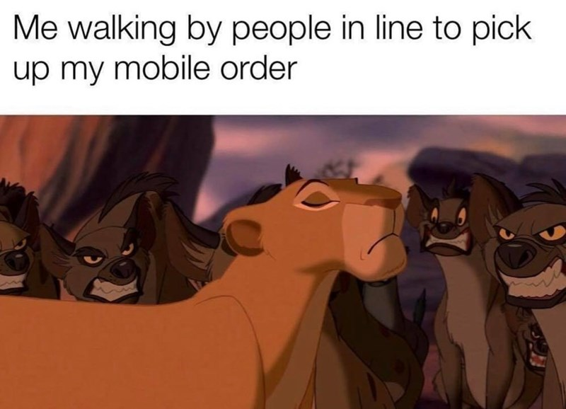 Cartoon - Me walking by people in line to pick up my mobile order