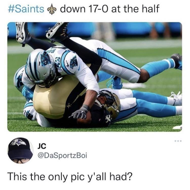 Sports uniform - #Saints e down 17-0 at the half JC @DaSportzBoi This the only pic y'all had?