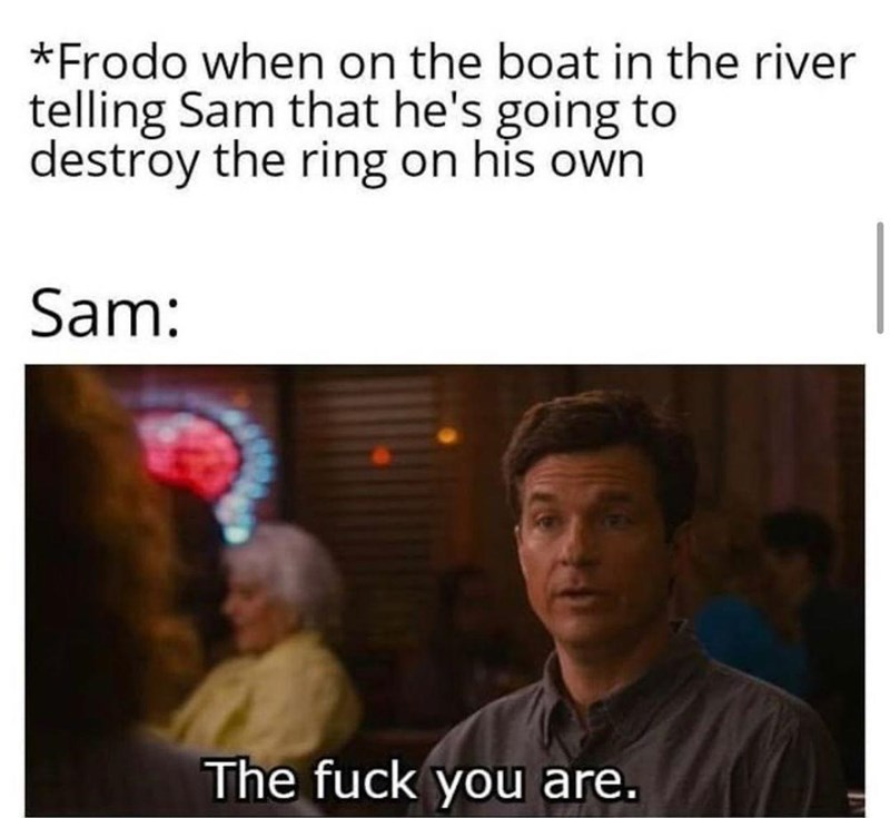 Forehead - *Frodo when on the boat in the river telling Sam that he's going to destroy the ring on his own Sam: The fuck you are.