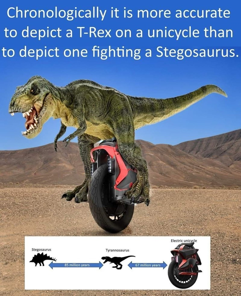 Extinction - Chronologically it is more accurate to depict a T-Rex on a unicycle than to depict one fighting a Stegosaurus. Electric unicycle Stegosaurus Tyrannosaurus 85 million years 67 million years