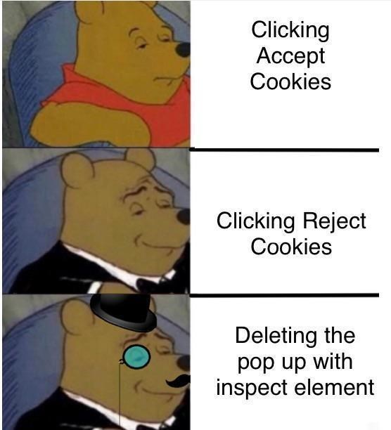 Cartoon - Clicking Ассеpt Cookies Clicking Reject Cookies Deleting the pop up with inspect element