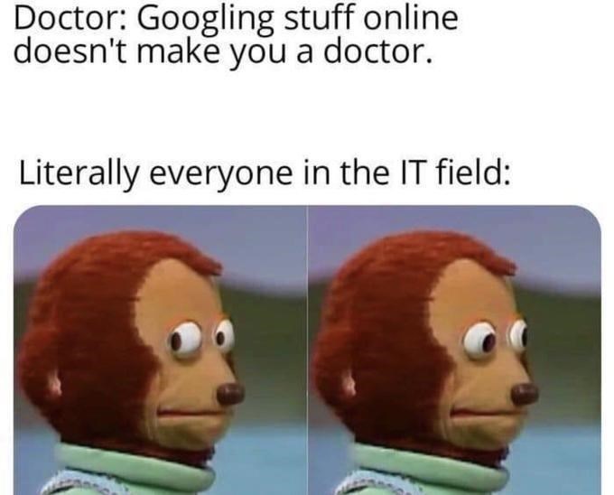 Vertebrate - Doctor: Googling stuff online doesn't make you a doctor. Literally everyone in the IT field: